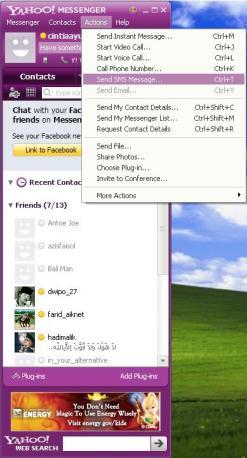kirim SMS menggunakan Yahoo Messenger