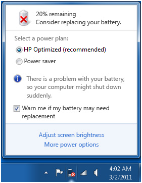notifikasi Consider Replacing Your Battery