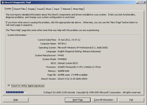 DxDiag untuk mengetahui spesifikasi komputer