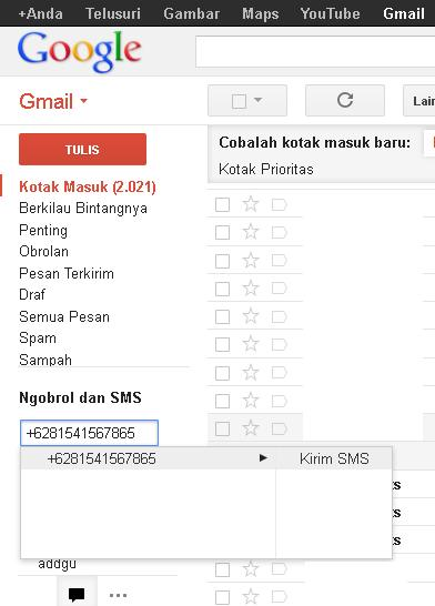 sms gratis di internet menggunakan gmail