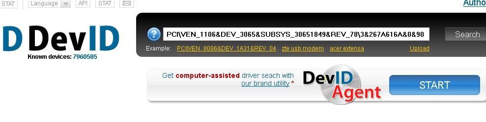 mencari driver hardware di situs devid dot info