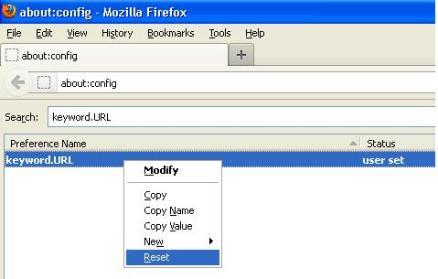 reset search engine default pada firefox