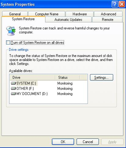unchecklist pada turn off system restore on all drives