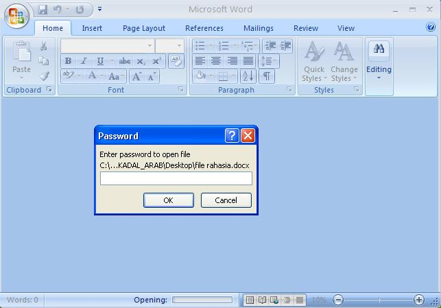 memberi password pada dokumen MS word