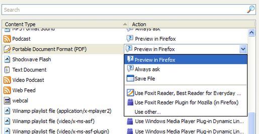 pengaturan aplikasi pada firefox agar dapat membuka file pdf