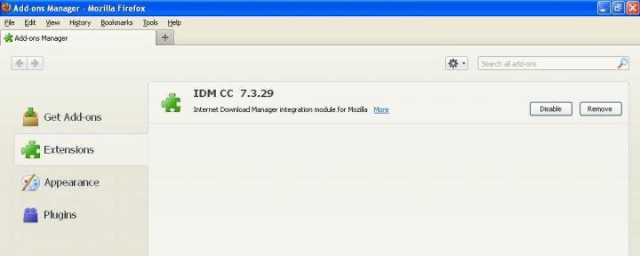 Add Ons IDM CC pada firefox