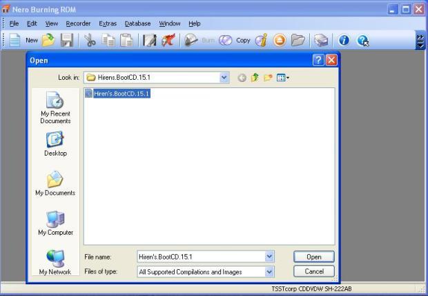 Cari file ISO pada Hirens BootCD untuk di burning