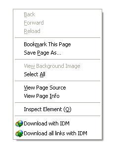 menu IDM terdapat saat klik kanan di jendela firefox