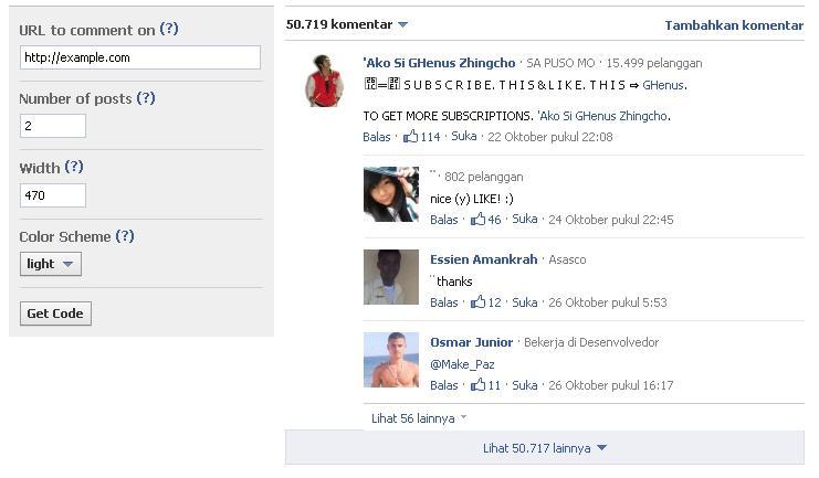 mengatur setingan komentar facebook