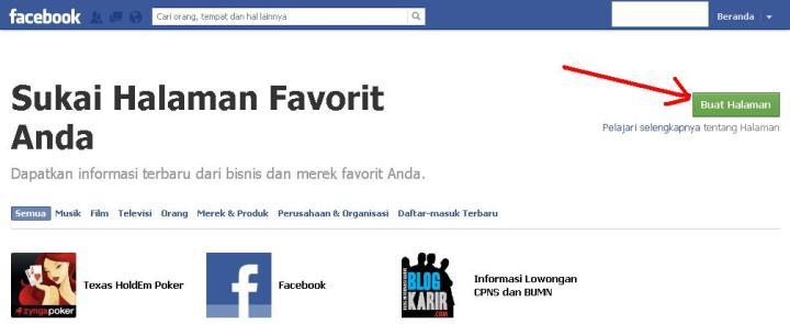 mendaftar facebook fanpage