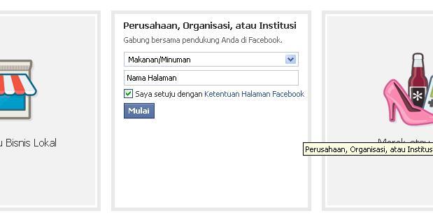 pilih kategori saat membuat facebook fanpage