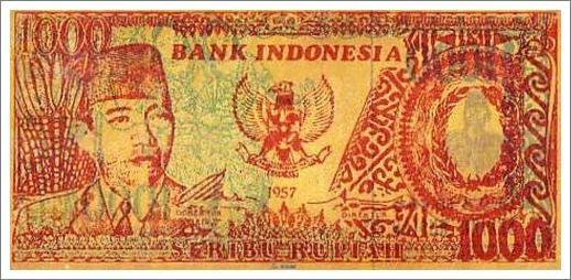 uang indonesia kuno 1000 rupiah tahun 1957