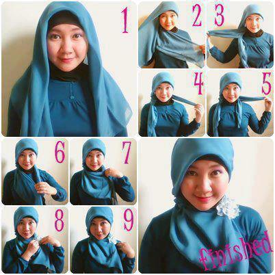 Cara Menggunakan Jilbab Segiempat