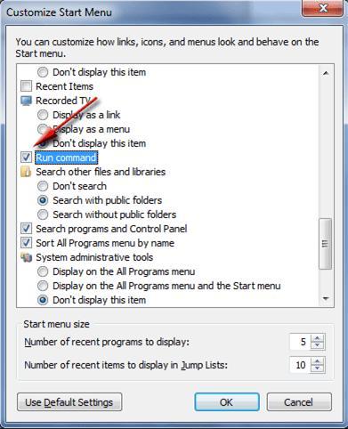 cara menampilkan tombol run pada windows