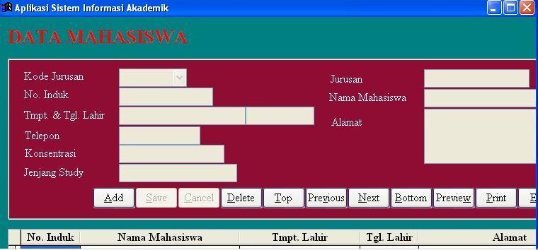form data aplikasi sistem informasi