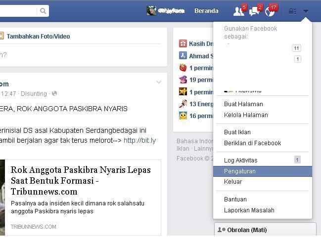 masuk ke menu pengaturan untuk mengubah password facebook