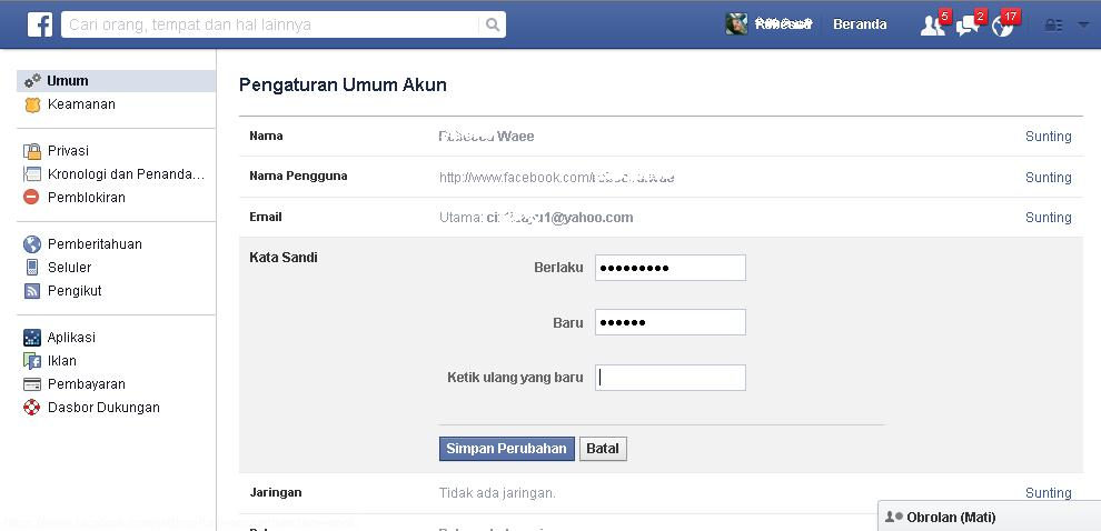 mengubah password facebook