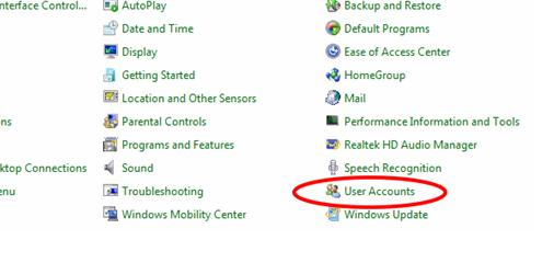 masuk ke user account untuk menghapus password di system