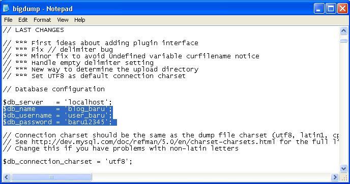 edit file bigdump