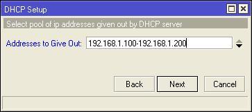 membuat range ip pada dhcp server