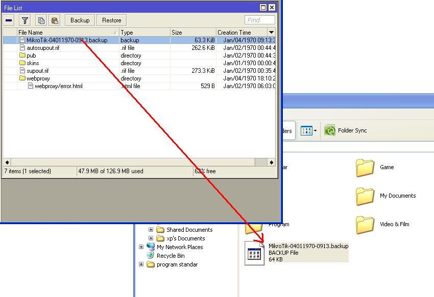 seret file untuk menyimpan file backup mikrotik ke komputer