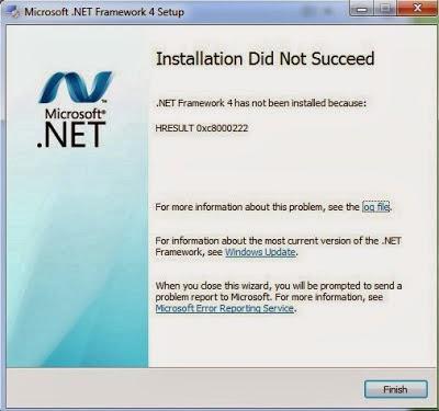 tampilan error HRESULT 0xc8000222
