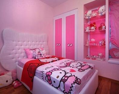 Contoh Desain Kamar Anak Minimalis Serba Hello Kitty
