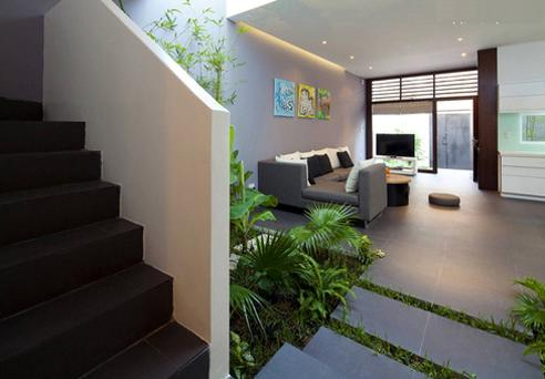 Desain taman mungil dalam rumah minimalis yang diletakkan di bawah tangga