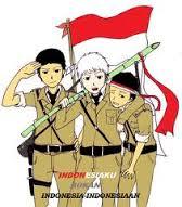 dp bbm - tokoh anime bawa bendera merah putih
