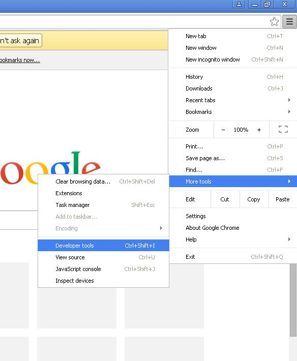 buka developer tools di menu google chrome