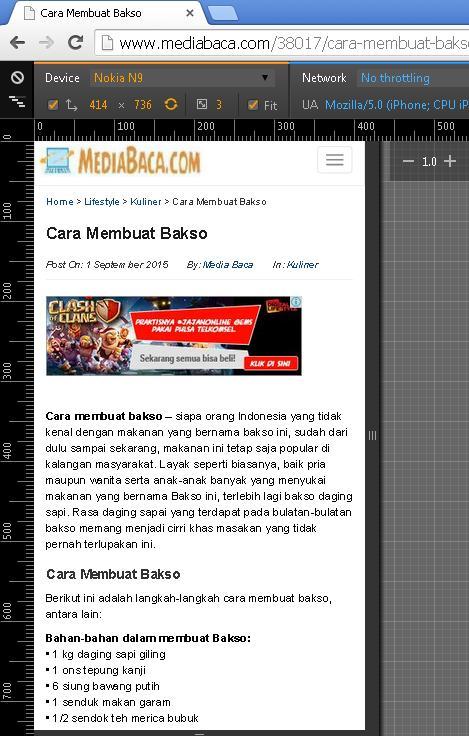 tampilan website mediabacadotcom di device nokia n9